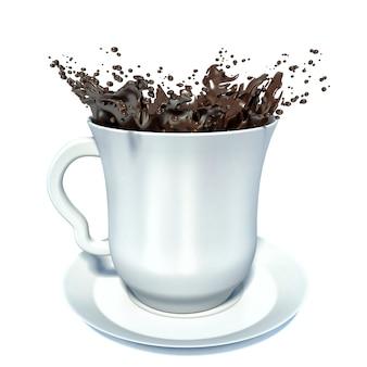Splash van bruine warme chocolademelk in witte porseleinen beker