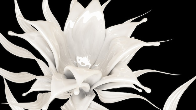 Splash van dikke witte vloeistof op zwart. 3d-afbeelding, 3d-rendering.