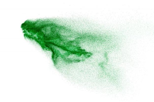Splash van groen gekleurd poeder.