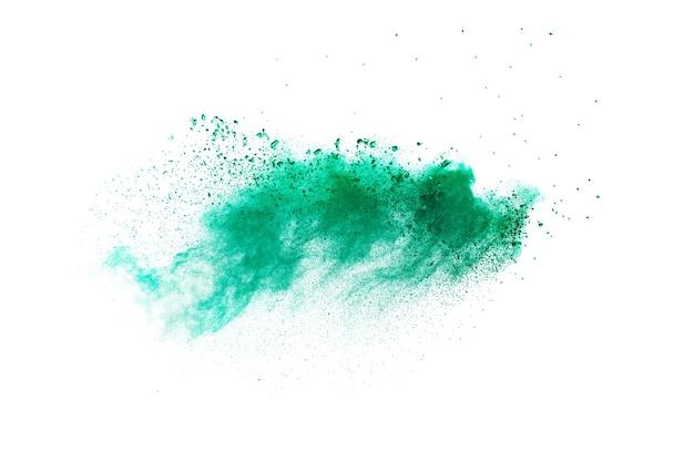 Splash van groen gekleurd poeder