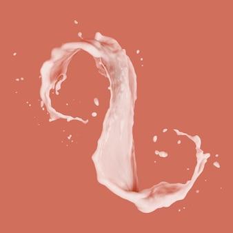 Splash van witte vette melk als ontwerpelement op een kleur living coral, kopieer ruimte.