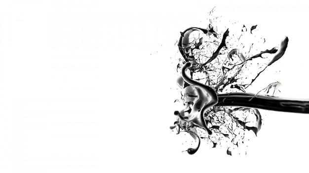 Splash van zwarte vloeistof. 3d-afbeelding