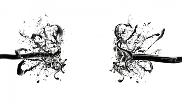 Splash van zwarte vloeistof. 3d-weergave.