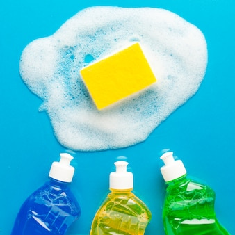 Spons met zeep en wasvloeistoffen