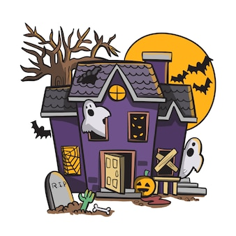 Spookachtig oud huis met geesten