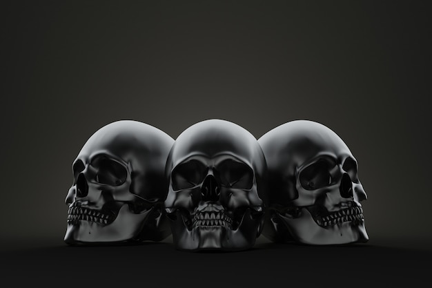 Spookachtige schedels. 3d illustratie.