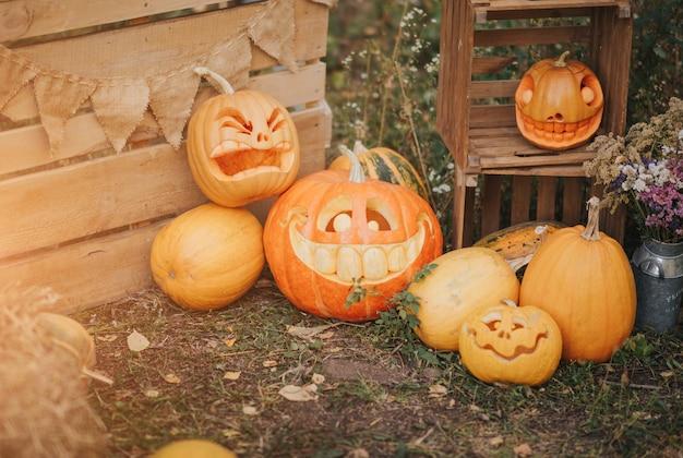 Spookpompoenen op halloween. ead jack op een herfstachtergrond. vakantie outdoor decoraties.