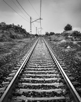 Spoor trein in zwart en wit