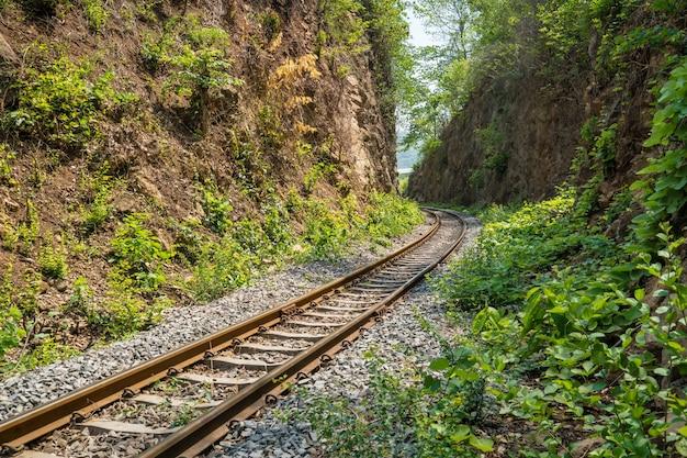 Spoorweg door jungle en bergen