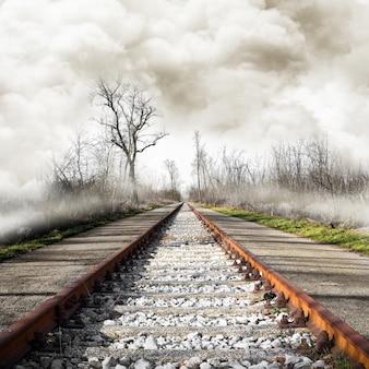 Spoorweg in mistig landschap