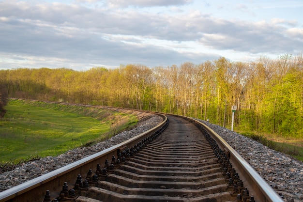 Spoorwegen in de stad natuur en bomen aan weerszijden