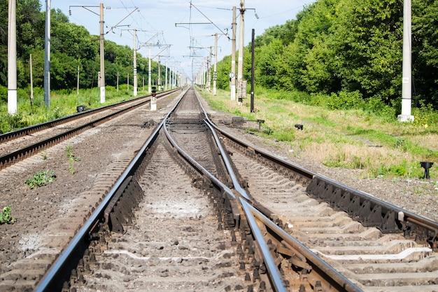Spoorwegwissel op een station