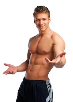 Sport en gezondheid lichaam van de mens. geïsoleerd op wit.
