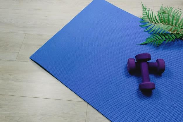 Sport kettlebells of gewichten op blauwe pad, houten laminaat, varenbladen