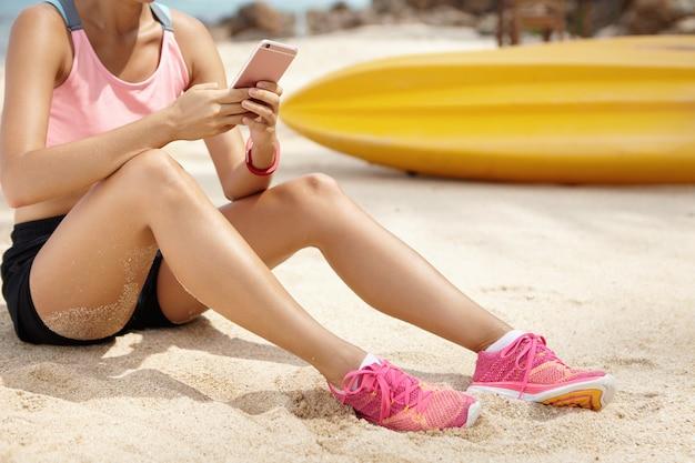 Sport, technologie en vrijetijdsconcept.