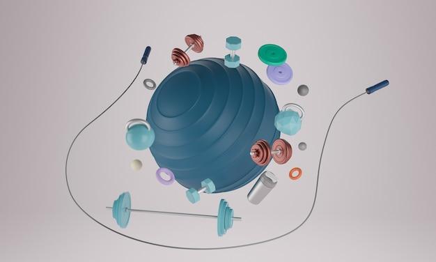 Sportfitnessapparatuur: blauwe yoga fitbal, flesje water, halters, springtouw en halter