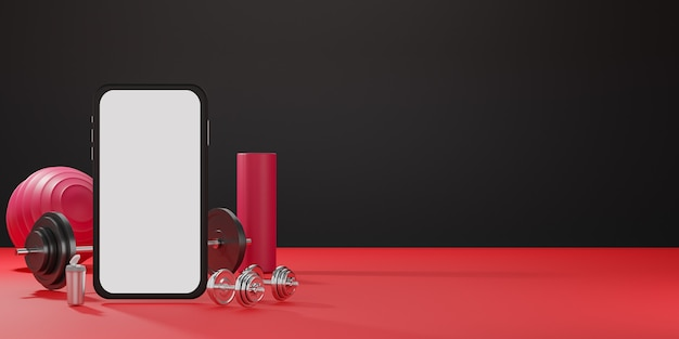 Sportfitnessapparatuur: mobiel model met wit scherm, rode yogamat, fit-bal, fles water, halters