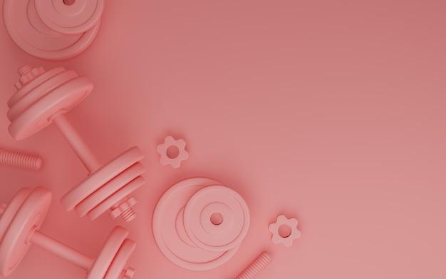 Sportfitnessapparatuur, platen metalen halter of barbell op roze kleur achtergrond, 3d-rendering.