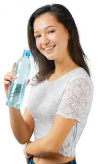 Sportieve vrouw met water