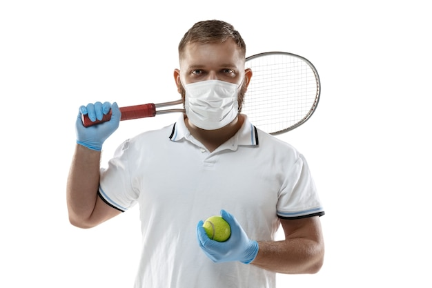 Sportman in beschermend masker coronavirus illustratie concept
