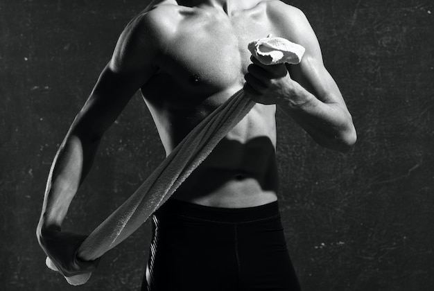 Sportman in handschoenen training motivatie oefening kracht