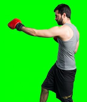 Sportman met bokshandschoenen
