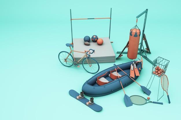 Sportuitrusting op groene achtergrond. 3d-weergave
