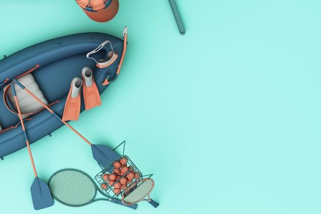 Sportuitrusting op groene bovenaanzicht als achtergrond. 3d-weergave