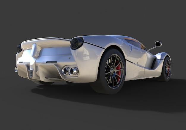 Sportwagen achteraanzicht het beeld van sport grijze auto op zwart
