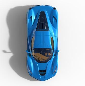 Sportwagen bovenaanzicht. het beeld van een blauwe sportwagen op een witte achtergrond. 3d illustratie.