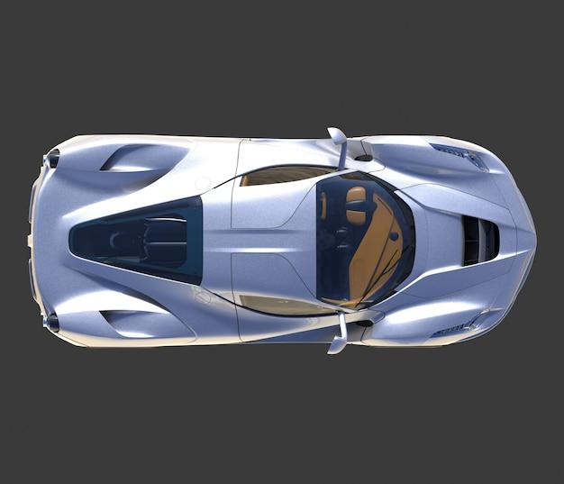 Sportwagen bovenaanzicht het beeld van sport grijze auto op zwart