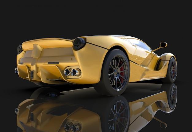 Sportwagen. het beeld van een sport gele auto op een zwarte achtergrond