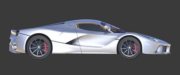 Sportwagen juiste weergave het beeld van sport grijze auto op zwart