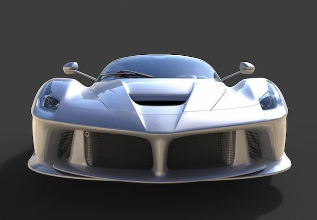 Sportwagen vooraanzicht het beeld van sport grijze auto op zwart