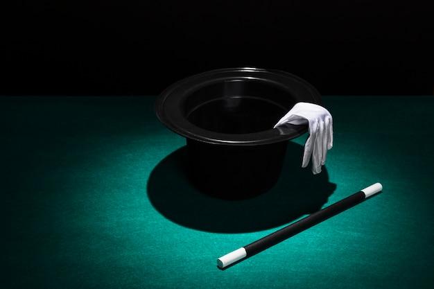 Spot licht over de hoge hoed met witte handschoenen en toverstaf