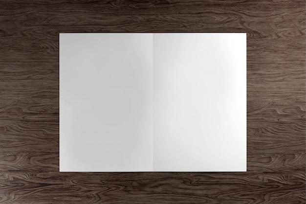 Spot omhoog van een brochure op een houten achtergrond - het 3d teruggeven