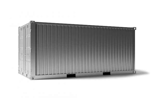 Spot omhoog van een container op een dok - het 3d teruggeven