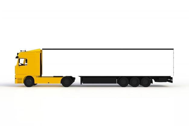 Spot omhoog van zijaanzicht gele die vrachtwagen op witte achtergrond wordt geïsoleerd