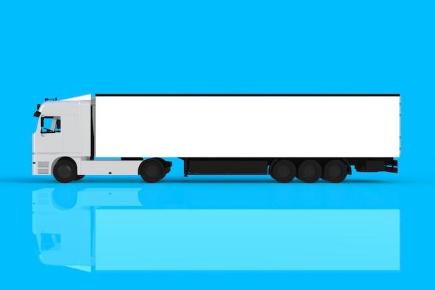 Spot omhoog van zijaanzicht witte die vrachtwagen op blauwe achtergrond, het 3d teruggeven wordt geïsoleerd