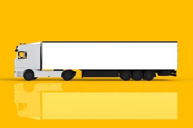 Spot omhoog van zijaanzicht witte die vrachtwagen op gele achtergrond, het 3d teruggeven wordt geïsoleerd