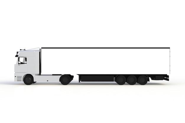Spot omhoog van zijaanzicht witte die vrachtwagen op witte achtergrond, het 3d teruggeven wordt geïsoleerd
