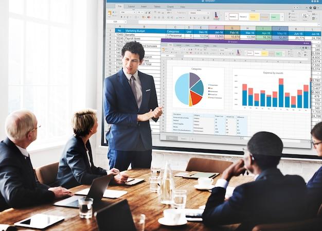 Spreadsheet document financieel rapportconcept