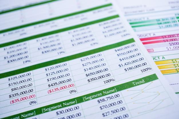 Spreadsheet-tabelpapier financiële ontwikkeling, account, statistieken investering.
