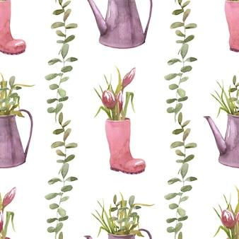 Spring garden composities naadloos patroon met tuingieter