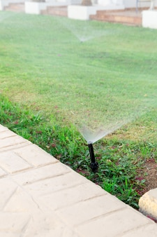 Sprinkler in tuin die het gazon water geeft. automatisch gazon gazons concept