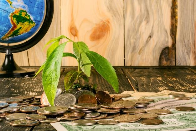 Spruit stijgt op van een stapel amerikaanse munten en bankbiljetten omhoog. en de wereldbol van opzij.