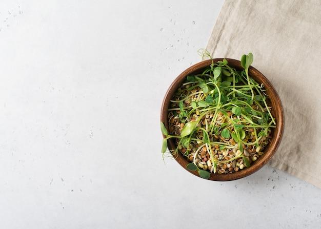 Spruiten van verschillende zaden met groen blad in kom op wit, bovenaanzicht