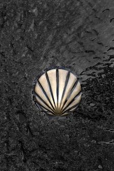St james way shell-symbool. camino de santiago