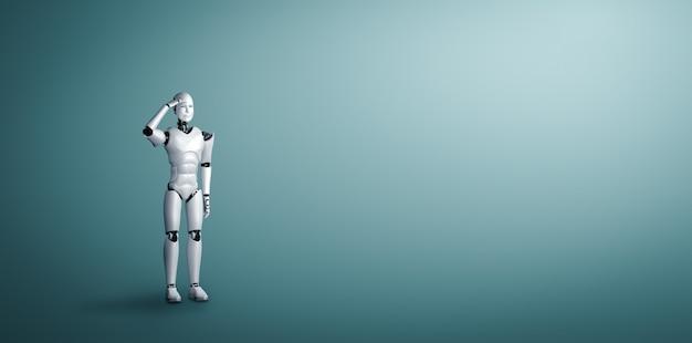 Staande humanoïde robot die uitkijkt op schone achtergrond