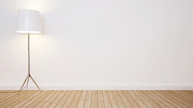 Staande lamp in lege ruimte voor kunstwerk - 3d-rendering